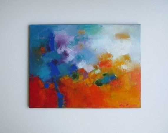 Blue Red Oil Abstract oil on canvas abstract painting original art on Etsy for sale, affordable art for living room, corporate office gift
