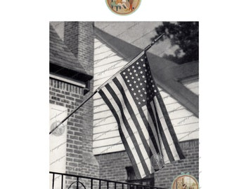 Vintage US Flag Pattern for Crochet - Stars & stripes - 4th of July Memorial Day Labor Day PDF Instant Download - PrettyPatternsPlease