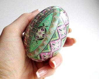 Mum's first Mothe'rs day  gift for Wife Pink and Green Pysanka batik Easter Eggs Ukrainian eggs pysanka goose eggs gift to mom from baby