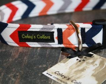 "Dog Collar ""The Chevron in Boy"" Navy Orange Grey and Red Chevron Dog Collar"