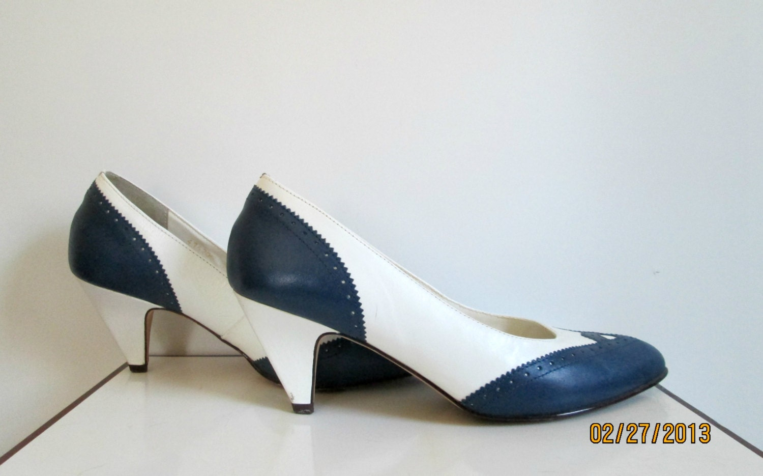 Navy Blue And White Spectator Shoes