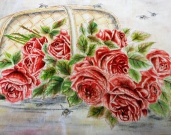vintage painting on velvet, bouquet of red roses falling out of a basket with honey bees, 19 by 26 inches.