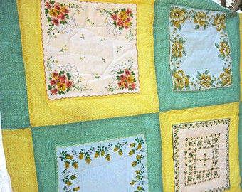 Baby quilt, yellow, green, and white floral vintage hankies, gender neutral, unisex, flannel back with sachet pocket