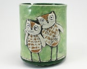Yarn Bowl: Hand-built ceramic bowl for knitting, crochet owls illustration jar cylinder shape