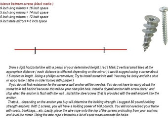 Installation instructions for wall anchors ( not provided ) Easy to install..Please do not purchase this listing