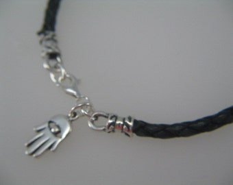 Hamsa Bracelet, Hamsa Charm, Mens leather Bracelet, Simple Bracelet,  Black Leather Silver Hamsa Charm Bracelet