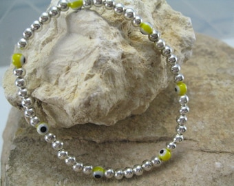 Silver Evil Eye Bracelet, Bead Bracelet, Evil Eye Jewelry, Layered Jewelry, Yellow Evil Eye Bracelet Stretch Boho Chic