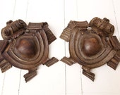 Two French Vintage Wood Decor Pieces