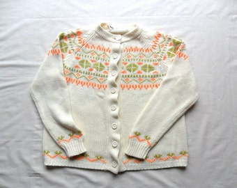 The Astrid - Vintage Lerner Shops Nordic Style Cardigan Sweater L / XL / Plus Size