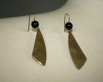 vintage fan earrings gold and black simple dangle