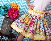 Summer flower chevron twirl skirt for children babies toddlers girls