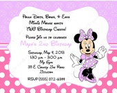 10 Purple & Pink Minnie Mouse Invitations with Envelopes.  Free Return Address Labels