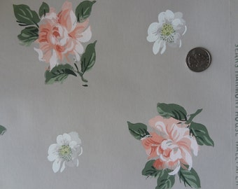 Vintage Wallpaper - Peach Roses on Taupe - 1 Yard