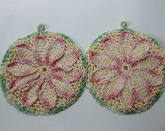 Vintage Crochet Pot Holders 1940 Pink and Green
