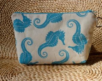 Aqua Seahorses Hand Printed on Canvas Zipper Bag/Clutch Small Size