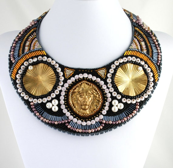 Diana's Companion - Large Statement Collar Necklace, Custom MADE to ORDER, Bead Embroidered, Tribal, Urban Warrior