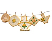 Crocheted Pot Holders Vintage Golden Yellow and White Rustic Farmhouse Potholder Instant Collection