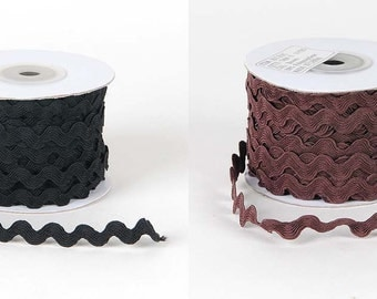 10 mm Ric Rac trim - 5 yards, your choice of black or brown