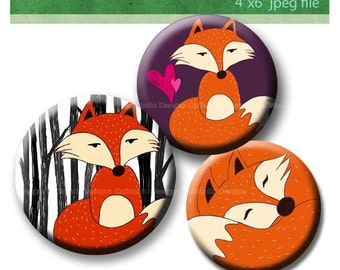 Fox Digital Collage sheet 1 inch circle 4 x 6 paper for photo pendants bottlecaps scrapbooking magnets pin badges