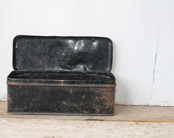 Vintage Aged Black Tin Container