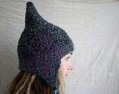 Purple Spiral Pixie Hat- Whimsical Fairy Crochet Beanie - OOAK