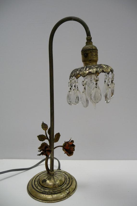 Antique Lamp Light A W Reiser Tole Metal Figural Roses