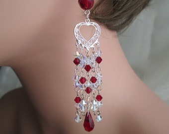 Red Crystal Chandelier Earrings Sterling Silver Heart Filigree Teardrop Dangle Earrings Very Long Garnet Red Ruby Red