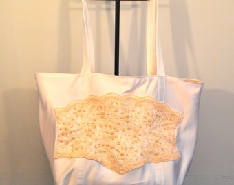 Bridal tote bag lace sunset peach and white beaded brides bag