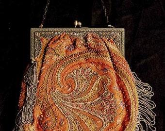 Steel Beaded 1910s Large Rust Ancient Madder Paisley Fabric  Bag/Purse - item 34, Purses