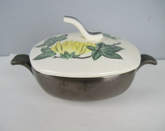 1940s Red Wing Pottery Cream Soup with Lid - Bronze, Yellow, & Green CHRYSANTHEMUM Bowl  -covered casserole