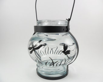 Lantern Black Dragonfly Candle Votive Holder Hand Painted