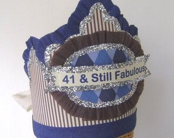 Mens Birthday Hat, 40th birthday Crown, mens birthday crown, Customize