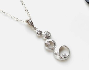 Mulit Bubble CZ Pendant Necklace, Circle Necklace, Journey Necklace Sterling Silver, Everyday modern jewelry,Gifts under 25