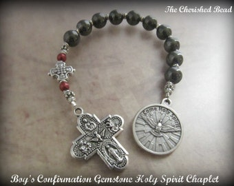 Boy's Confirmation Gemstone and Holy Spirit Confirmation Chaplet