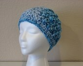 Womens-girls chunky crochet cloche hat-blue, turqouise,white verigated