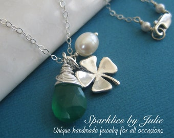 Shamrock Necklace - Lucky Charm, Sterling Silver Four-Leaf Clover, Wire Wrapped Faceted Emerald Green Chalcedony, Freshwater Rice Pearl