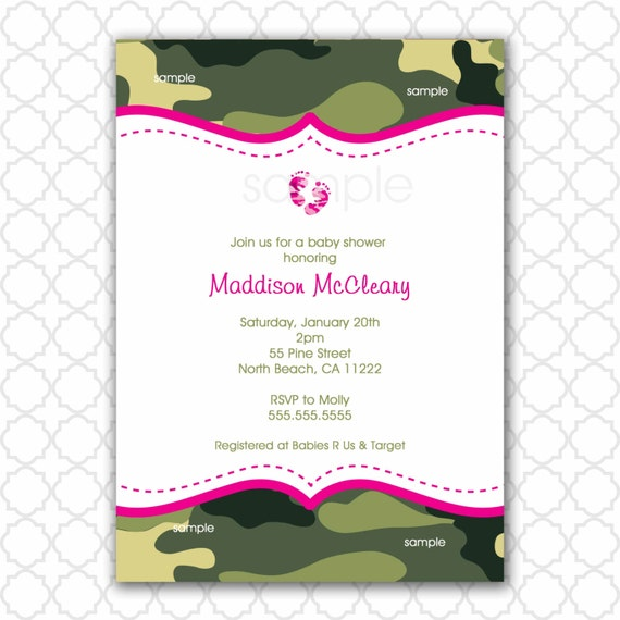 pink and green camo baby shower invitation with feet camouflage