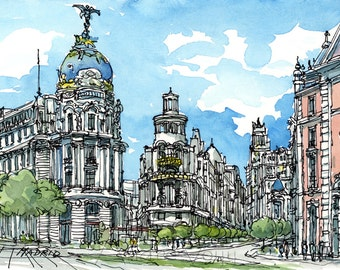 Madrid, Spain art print from original watercolor painting
