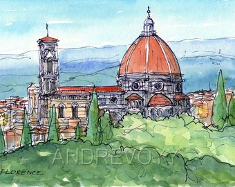 Florence Duomo  Italy art print  from an original watercolor painting
