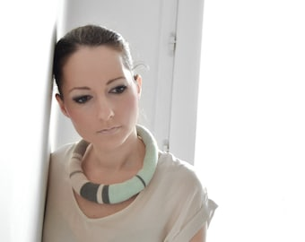 mint and beige striped, knitted necklace, Paris fashion
