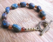 Turquoise Impression Jasper and Brandy Citrine Bracelet