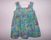 Mermaid pinafore turquoise pink gold tropical fish seashells size 4T ribbon tie