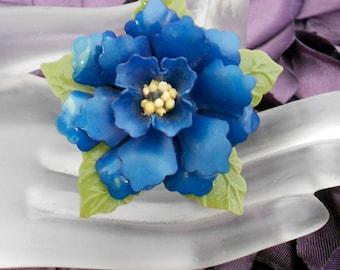1930's Blue Plastic Flower Pin