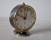 Little French Jaz Alarm Clock in Black and Gold 1960s