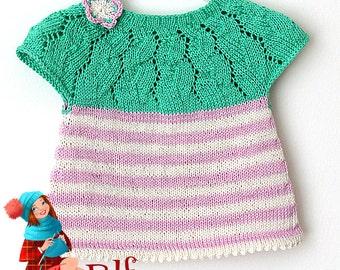 Knitting Pattern (PDF file) Lace/Strips Tunica (sizes 3mo/6mo/12mo/18mo/2T/3T)