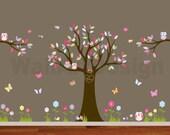 Nursery Playroom Owl Tree Bird Vinyl Wall Art Decals Mural flowers butterflies