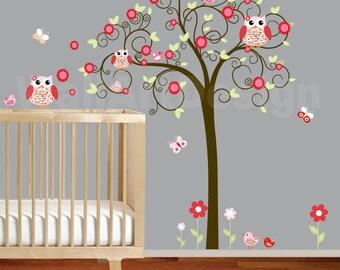 Girls Swirl Tree Wall Decal Nursery Vinyl Wall Stickers red Flowers Owls Curl Tree Butterflies