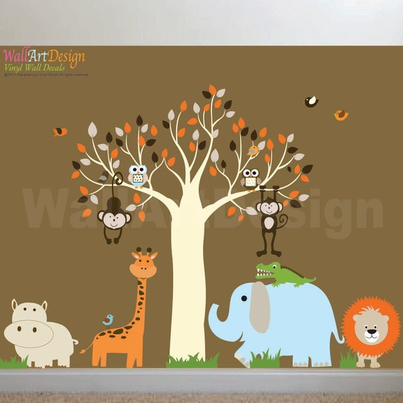 Items similar to childrens wall decal jungle safari tree for Baby jungle safari wall mural