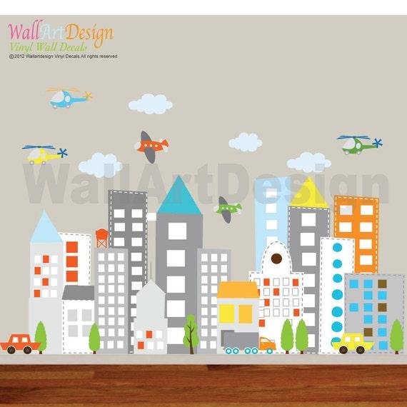 Kids Vinyl Wall Sticker Decal Art City Buildings By