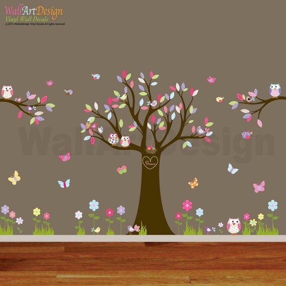Nursery playroom owl tree bird vinyl wall art decals mural for Bird and owl tree wall mural set